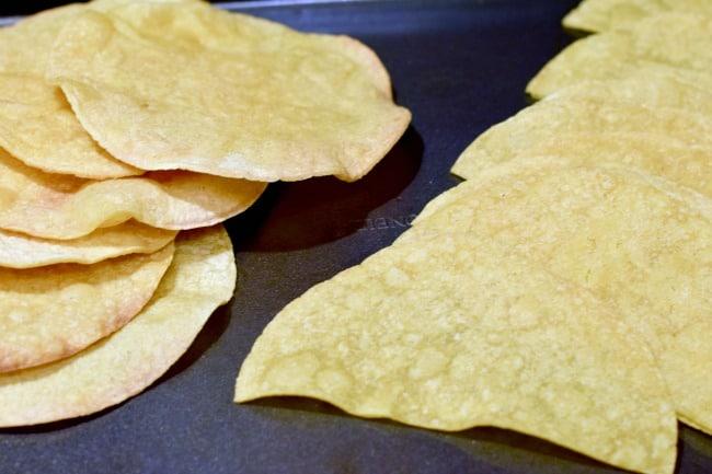 crispy tortillas to make the green chicken enchilada stack