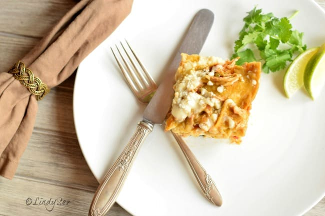 Green Chile Chicken Enchilada Stack without sour cream or avocado