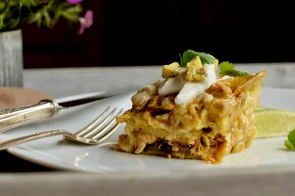 Header for LindySez Green Chili Chicken Enchilada Stack