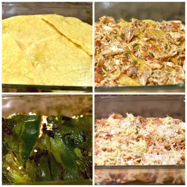 a collage of photos showing how to put together the enchilada stack