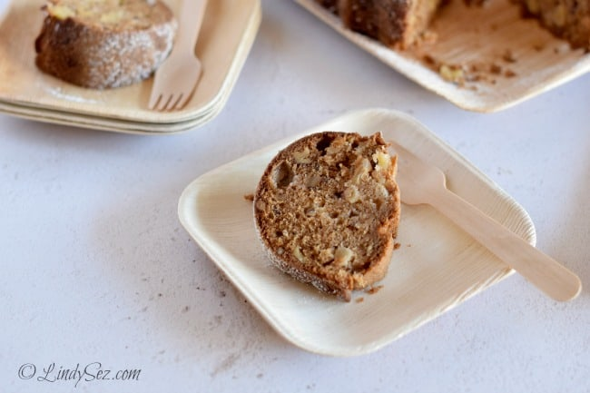 Nutty and delicious slice of fresh apple chunk olive oil cake