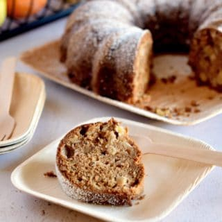A slice out of fresh Apple Chunk Olive Oil Cake