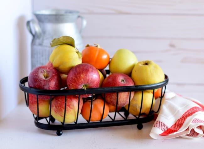 A basket of fresh fall fruits