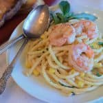 Bucatini with Shrimp and Pine Nuts header photo.