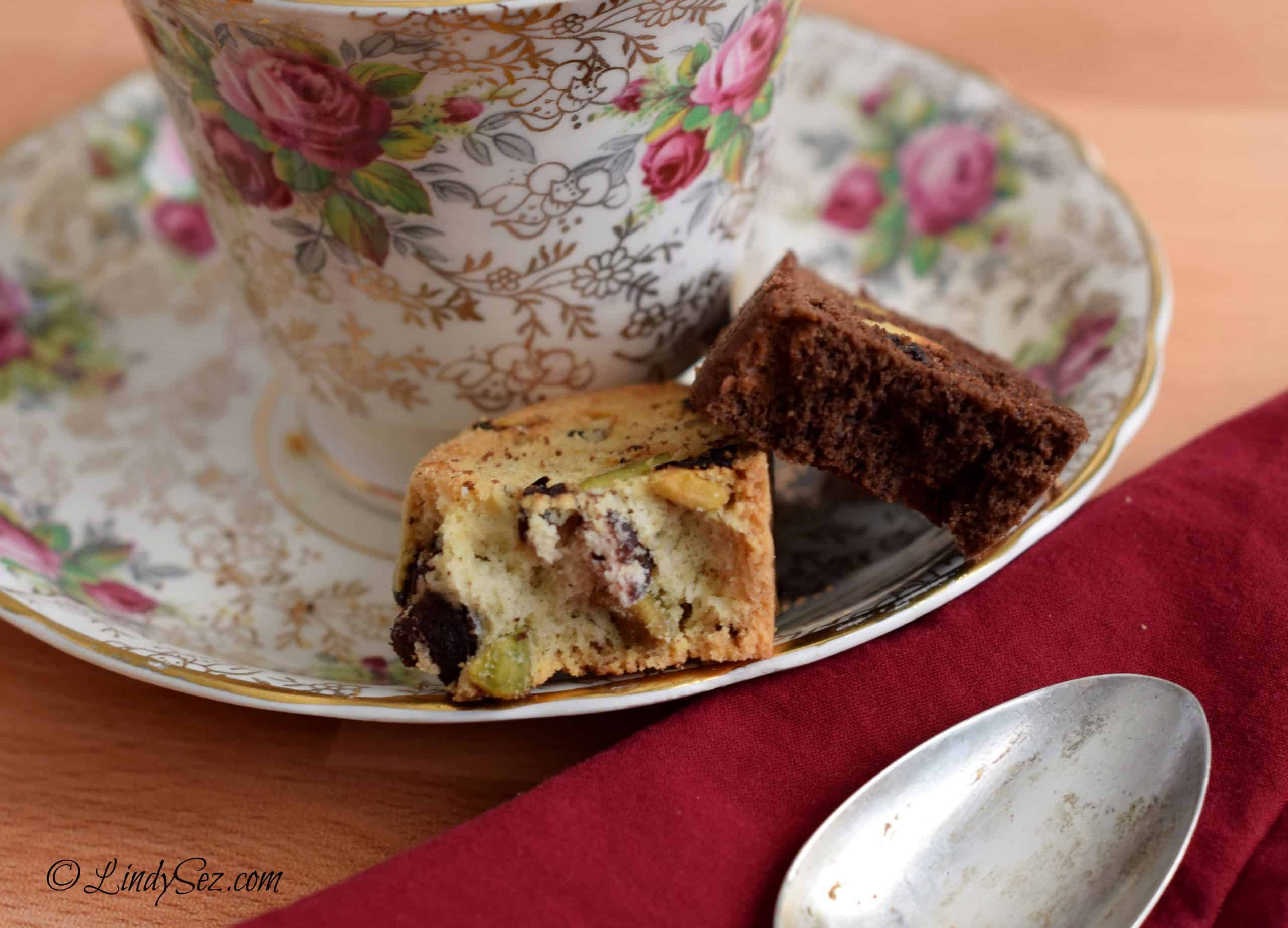 A close-up of the two different chocolate cherry biscotti