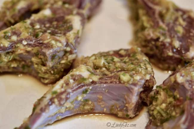 Lemongrass marinated lamb chops ready for the grill.