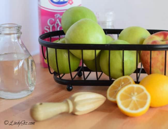 The ingredients needed to make Easy Sweet Tart Homemade Applesauce.