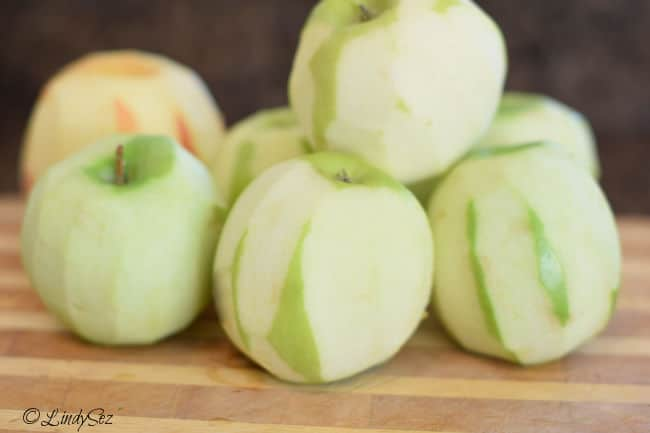 A variety of roughly peeled apples for making easy applesauce.