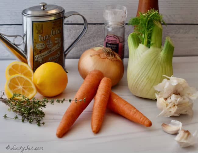 The ingredients for Slow-Roasted Carrot-Fennel Confit.