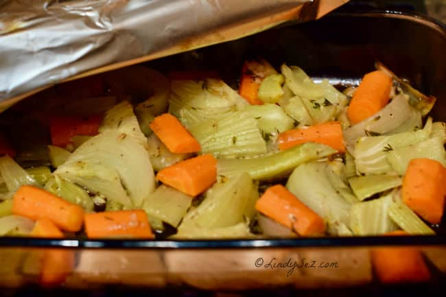 Slow-Roasted Carrot Fennel Confit cooked to perfection.