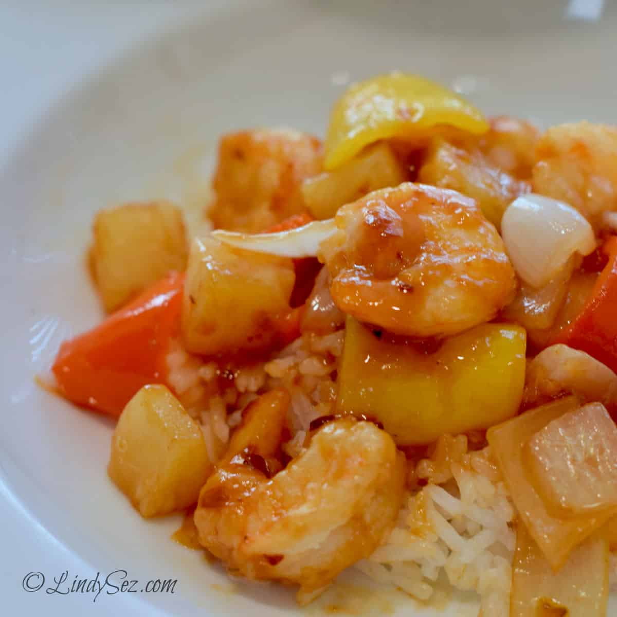 The final dish of easy homemade spicy sweet and sour shrimp.