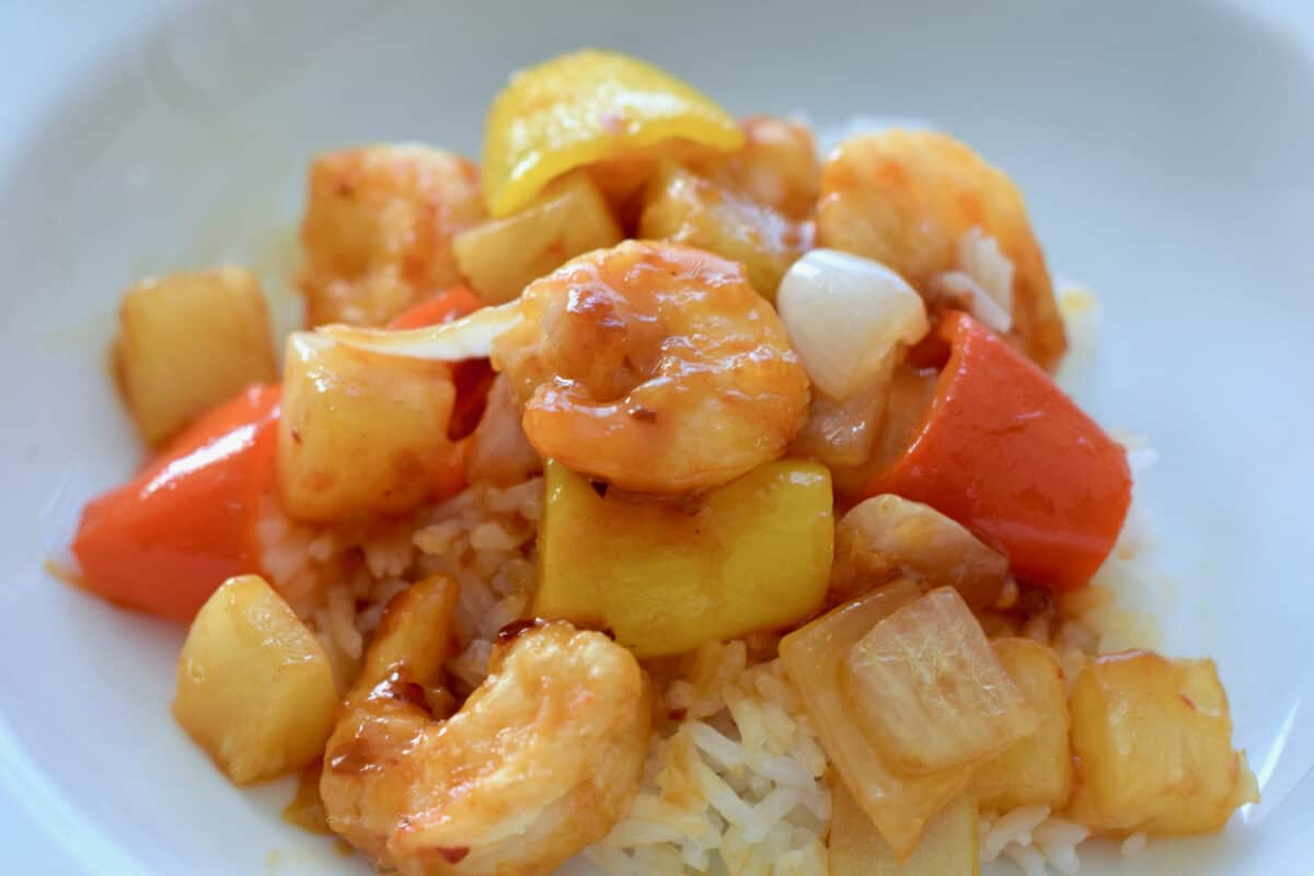 A delicious bowl of Spicy Sweet and Sour Shrim